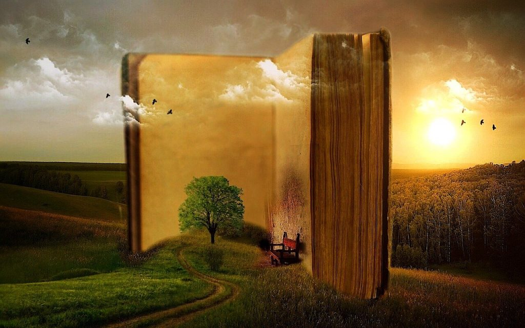 book, old, clouds
